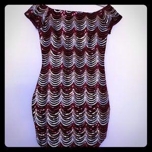 Velvet sequin off the shoulder  mini dress